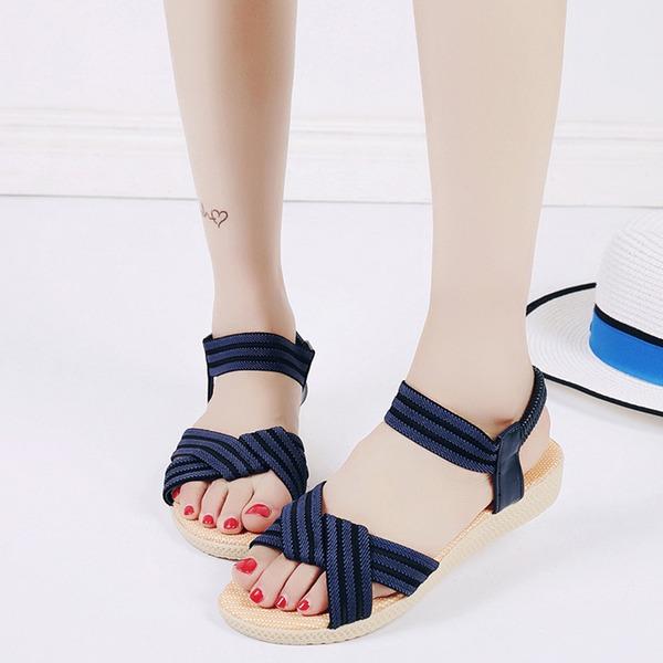 Vrouwen Kunstleer Wedge Heel Sandalen Peep Toe Slingbacks met Gevlochten Riempje Elastiek schoenen
