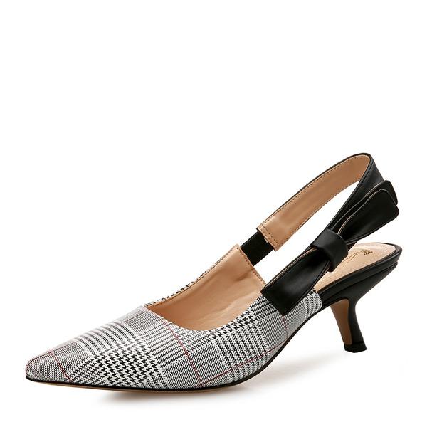 Frauen PU Kätzchen Absatz Sandalen Geschlossene Zehe Slingpumps mit Bowknot Schuhe