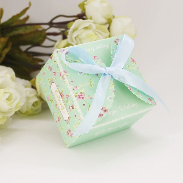 Floral Design Card Paper Favor Boxes & Containers With Ribbons (Set of 12)