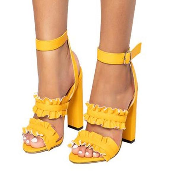 Vrouwen Suede Chunky Heel Sandalen schoenen