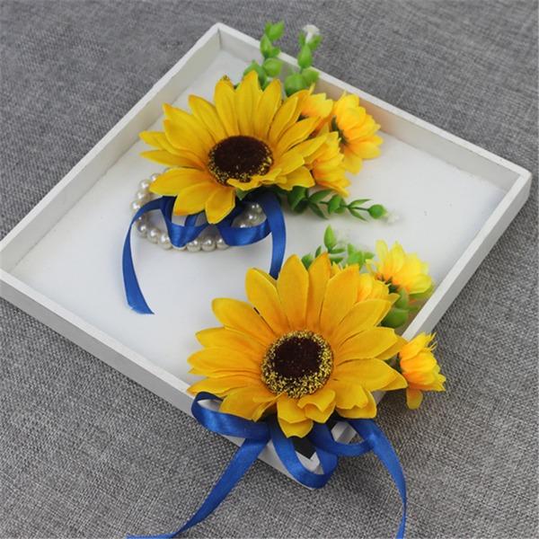 Hübsche Mid Hand Gebunden Satin Armbandblume/Knopflochblume (Satz von 2) - Armbandblume/Knopflochblume