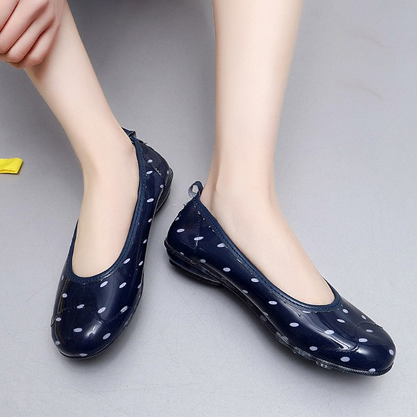 Women's PVC Low Heel Closed Toe Rain Boots With Others shoes