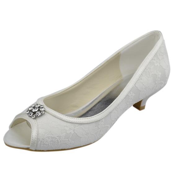 Women's Lace Kitten Heel Peep Toe Sandals With Rhinestone