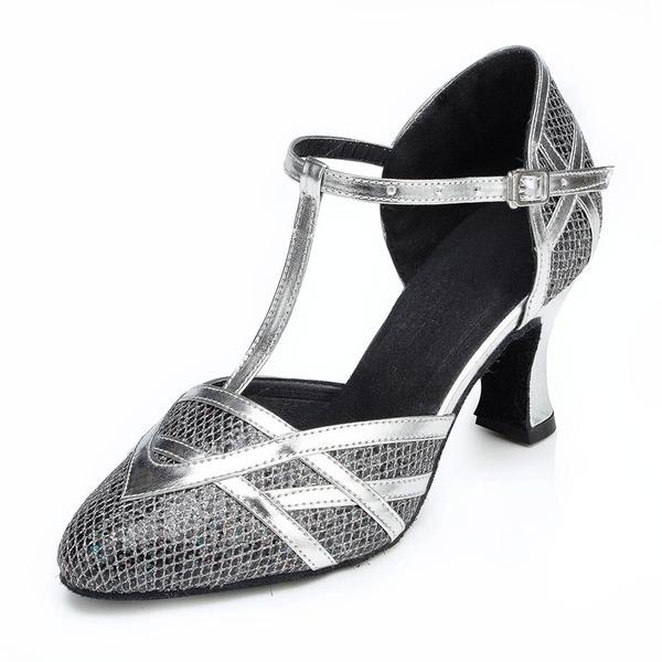 Femmes Pailletes scintillantes Talons Sandales Salle de bal avec Lanière en T Chaussures de danse