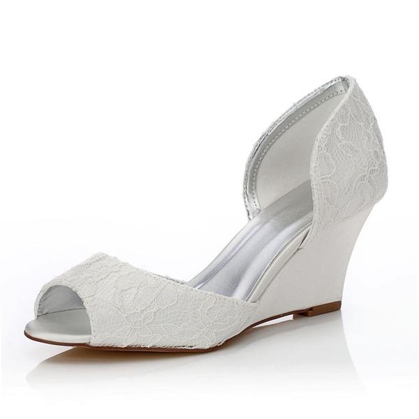 Kadın Dantel Saten Dolgu Topuk Peep Toe Sandalet Boyanabilir ayakkabılar