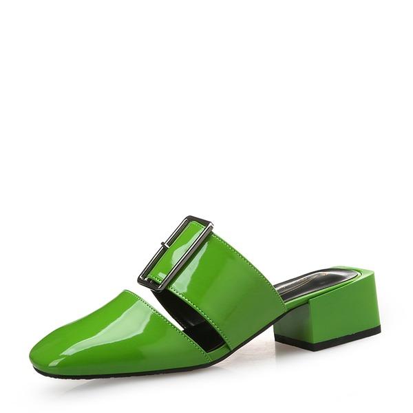 Mulheres Couro Brilhante Salto baixo Sandálias Fechados com Fivela sapatos