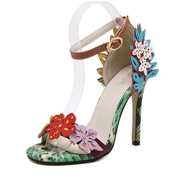 Frauen Kunstleder Stöckel Absatz Peep Toe Absatzschuhe Sandalen mit Blume