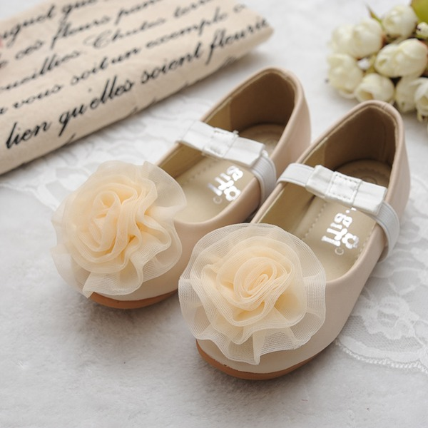 Fille de Bout fermé Cuir en microfibre talon plat Chaussures plates Chaussures de fille de fleur avec Une fleur