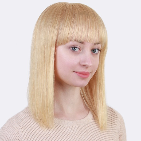 Straight Human Hair Blend Human Hair Wigs 140g