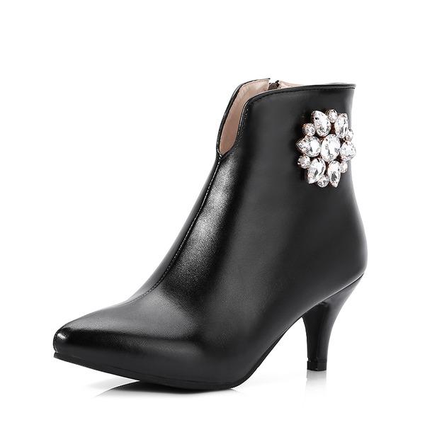 Femmes PU Talon bobine Escarpins Bottines avec Strass Zip chaussures