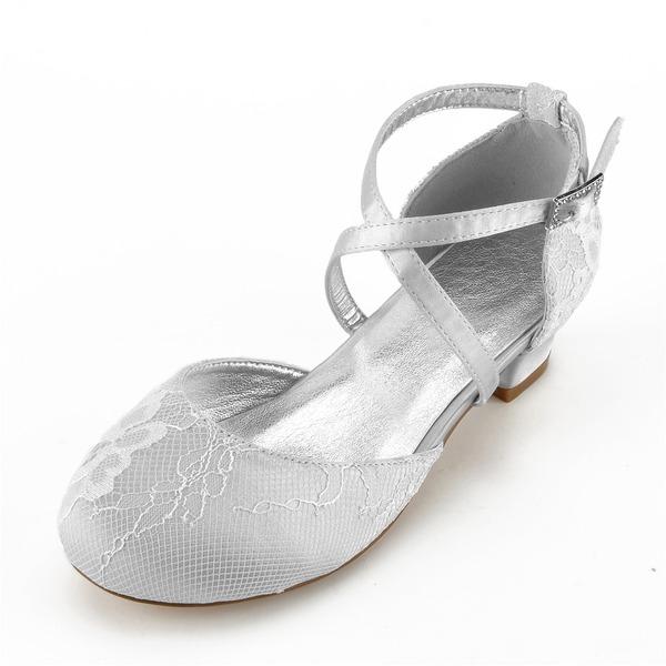 Girl's Round Toe Closed Toe Mary Jane Silk Like Satin Low Heel Flower Girl Shoes With Rhinestone