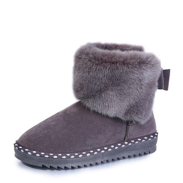 Femmes Suède Talon plat Escarpins Bottes Bottes neige avec Bowknot chaussures