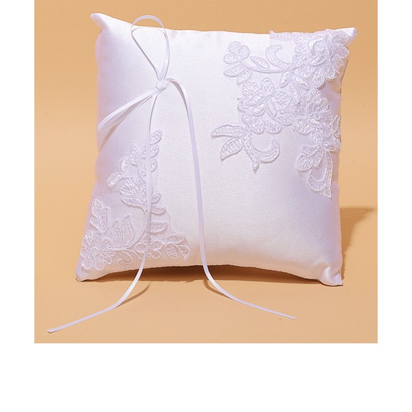 Square Ring Pillow in Satin/Lace With Ribbons