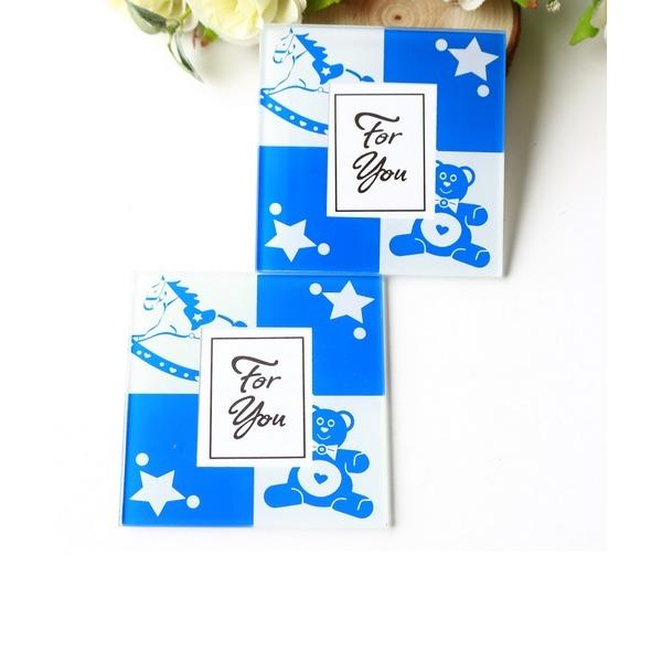 """Tea Time""/Classic Square Glass Tea Party Favors (Set of 2 pieces)"