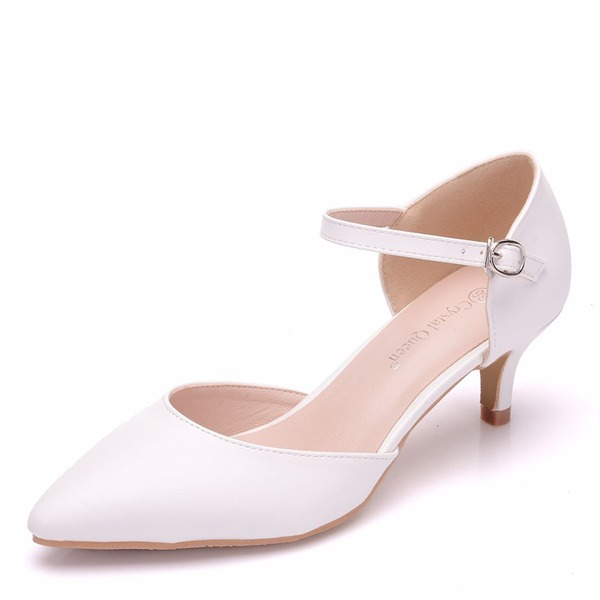 Women's Leatherette Low Heel Closed Toe Pumps Sandals