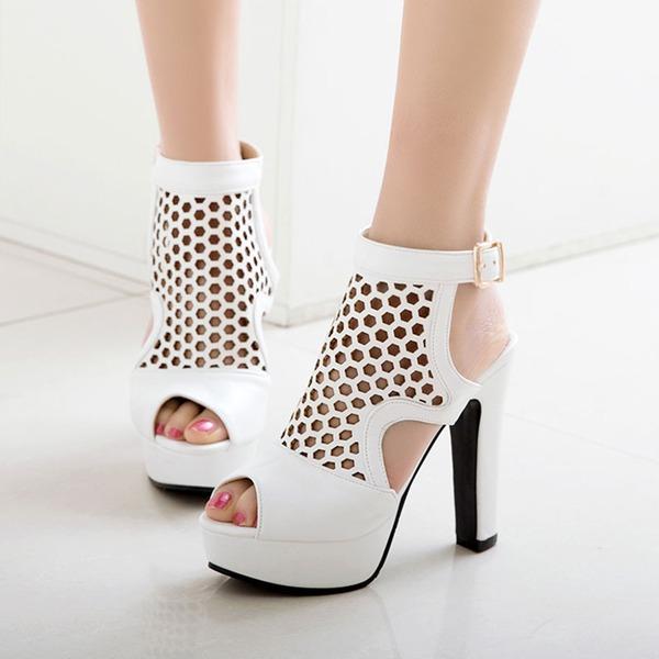 Donna PU Tacco spesso Sandalo Stiletto Piattaforma Punta aperta Con cinturino con Cava-out scarpe