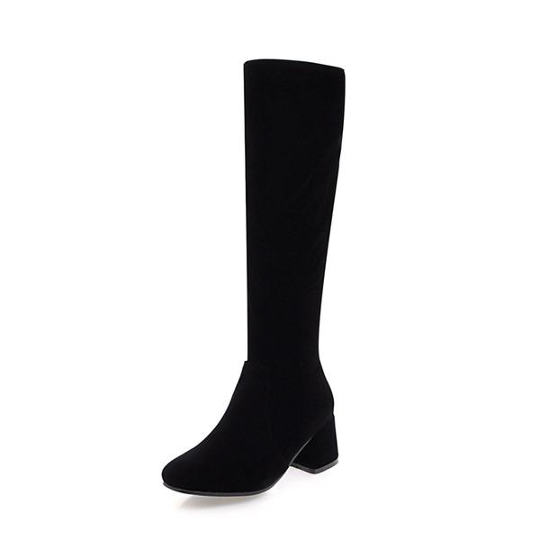 Mulheres Camurça Salto robusto Bombas Bota no joelho com Zíper sapatos
