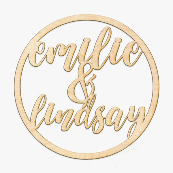 Simple Attractive/Round Wooden Wedding Sign