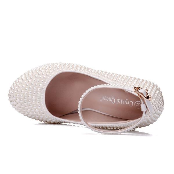 Детская обувь кожа Устойчивый каблук Закрытый мыс На каблуках Мэри Джейн с горный хрусталь
