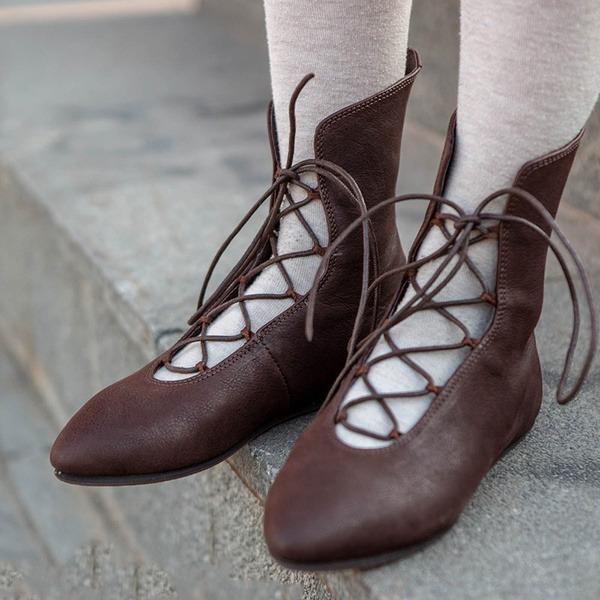 Женщины кожа Плоский каблук На плокой подошве Ботинки Полусапоги с Шнуровка обувь