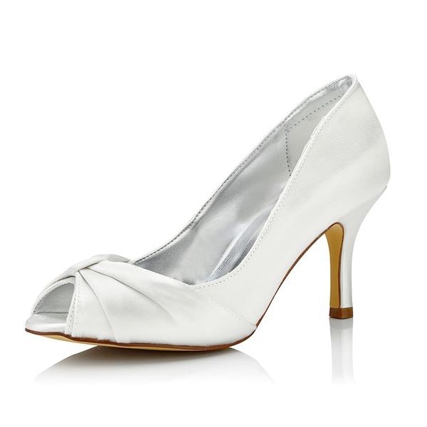 Mulheres Cetim Salto agulha Sandálias Sapatos Tingíveis