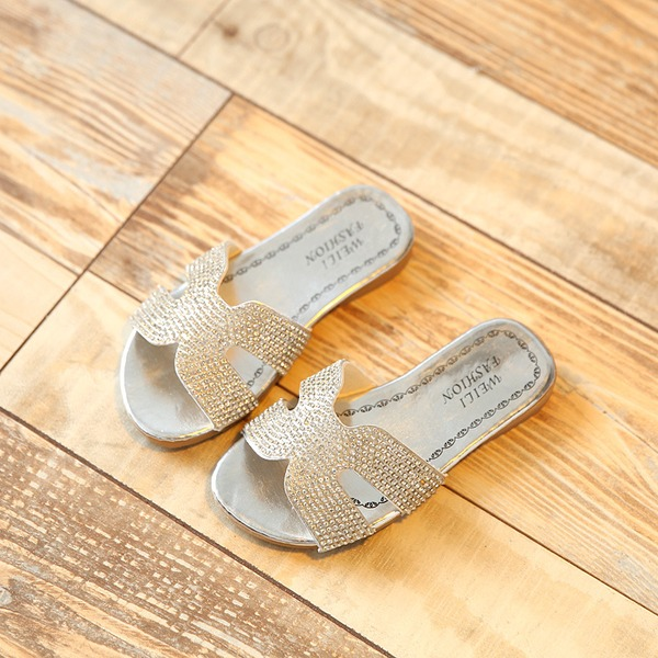 Girl's Peep Toe Leatherette Sparkling Glitter Flats Slippers