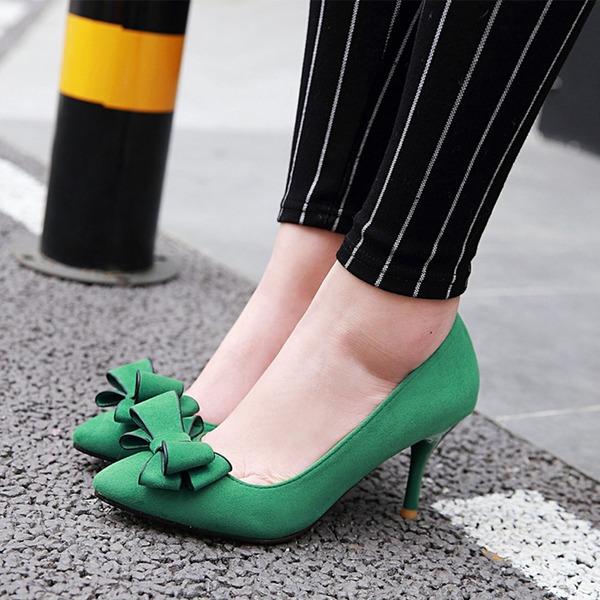 Vrouwen Suede Stiletto Heel Pumps met strik