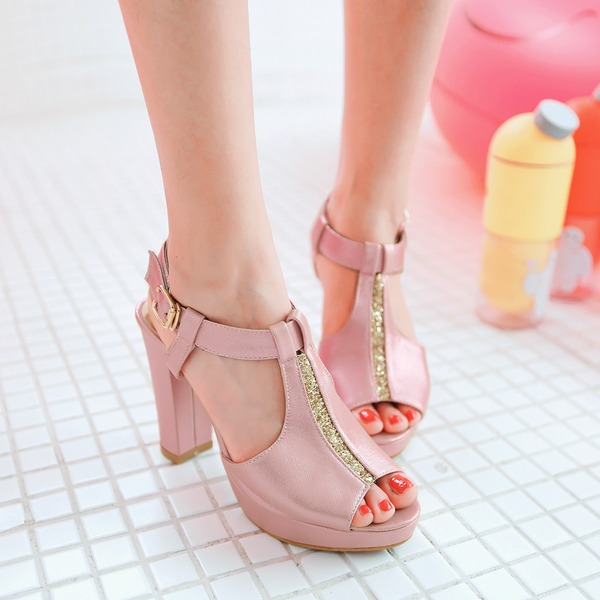 Women's Leatherette Chunky Heel Sandals Pumps Peep Toe Slingbacks shoes
