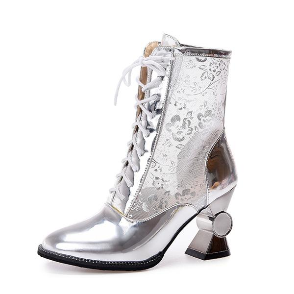 Kvinner Lær Stor Hæl Ankelstøvler sko