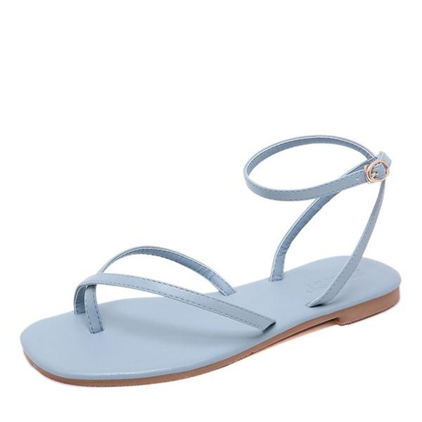 Kvinner Lær Flat Hæl Flate sko Titte Tå Sandaler Slingbacks med Spenne
