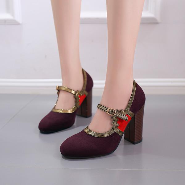 Frauen Kunstleder Stämmiger Absatz Sandalen Geschlossene Zehe mit Schnalle Schuhe