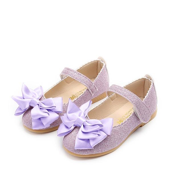 Fille de Bout fermé similicuir talon plat Chaussures de fille de fleur avec Bowknot Pailletes scintillantes Velcro