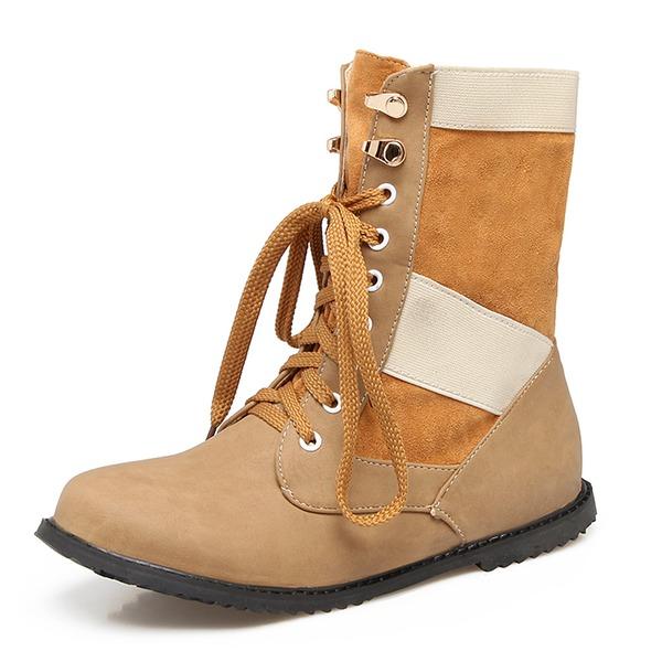 Frauen Kunstleder Flascher Absatz Flache Schuhe Geschlossene Zehe Stiefel Stiefelette Stiefel-Wadenlang Martin Stiefel Reitstiefel mit Zuschnüren Schuhe