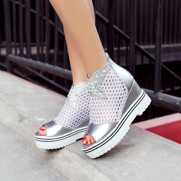 Kvinnor Mesh PU Kilklack Sandaler Plattform Kilar Stövlar Peep Toe Boots med Zipper Split gemensamma skor