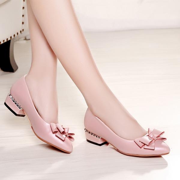 Femmes Similicuir Talon bas Escarpins avec Bowknot chaussures