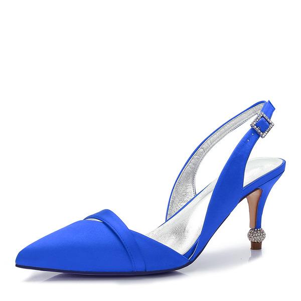 Women's Silk Like Satin Stiletto Heel Closed Toe Slingbacks