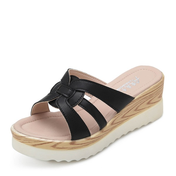 Frauen Microfaser-Leder Keil Absatz Sandalen Keile Peep Toe Schuhe