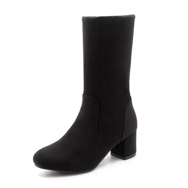 Kvinner Semsket Stor Hæl Støvler Mid Leggen Støvler med Annet sko