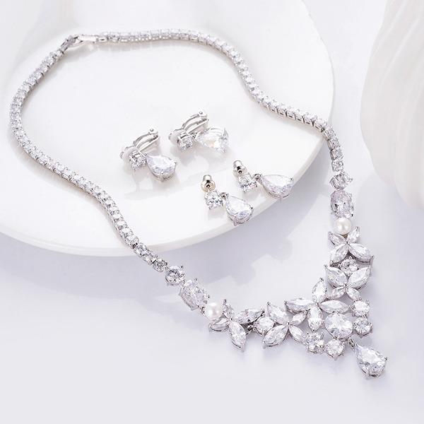 Ladies' Elegant Copper/Platinum Plated Cubic Zirconia Jewelry Sets For Bride/For Bridesmaid