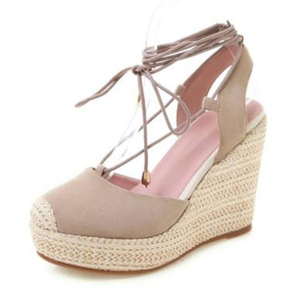 Mulheres Couro verdadeiro Plataforma Sandálias Plataforma Fechados Calços com Aplicação de renda sapatos