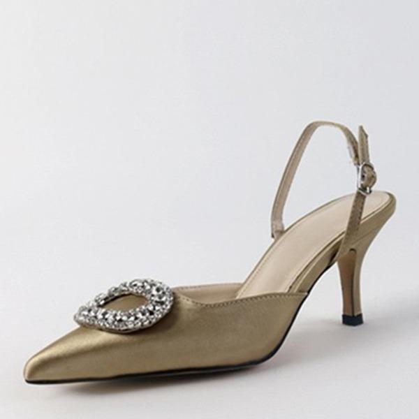 Vrouwen Kunstleer Chunky Heel Sandalen Pumps Closed Toe Slingbacks met Kristal schoenen