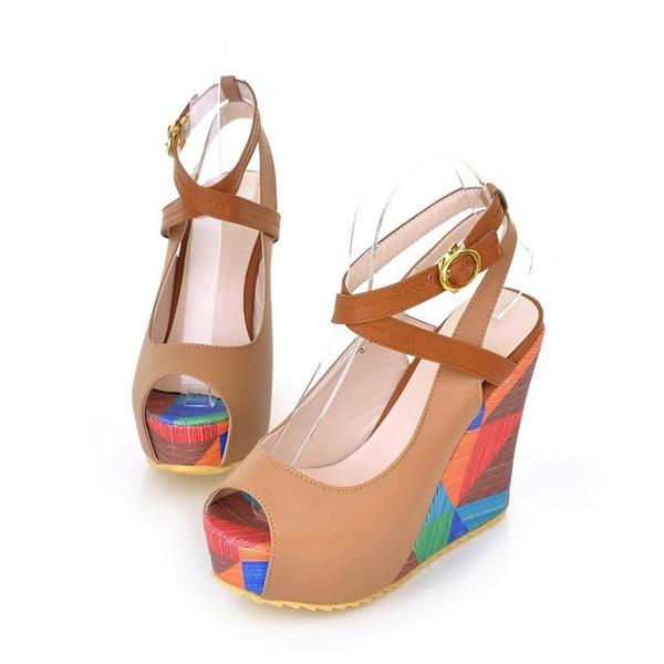 Mulheres PU Plataforma Sandálias Bombas Calços Peep toe com Fivela sapatos
