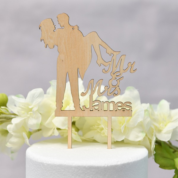 Personalizado Mr & Mrs/el amor es dulce Madera Decoración de tortas (Sold in a single piece)