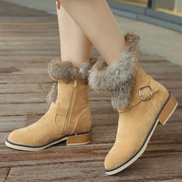 Women's Suede Chunky Heel Snow Boots With Buckle Zipper shoes