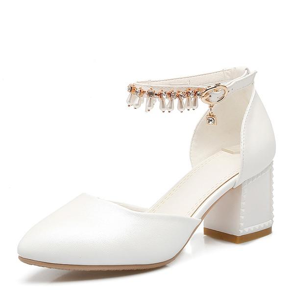 De mujer Cuero Tacón ancho Sandalias Salón Cerrados Mary Jane con Rhinestone Perlas de imitación Borla zapatos