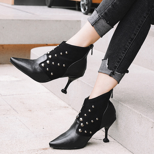 Women's Leatherette Stiletto Heel Ankle Boots With Rivet Zipper shoes