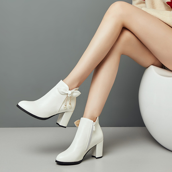 Suede Leatherette Chunky Heel Pumps Ankle Boots With Applique Chain shoes