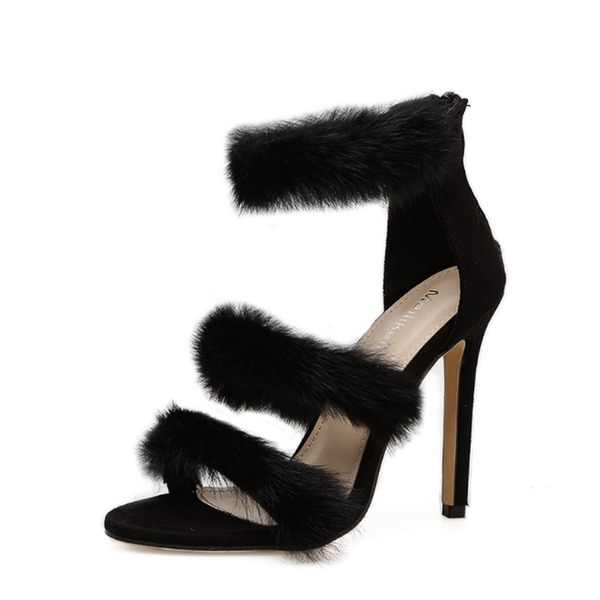 Frauen Veloursleder Stöckel Absatz Sandalen Absatzschuhe Peep Toe mit Reißverschluss Pelz Schuhe