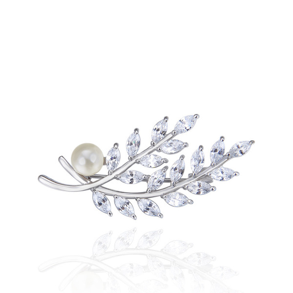 Ladies' Vintage 925 Sterling Silver With Cubic Cubic Zirconia/Imitation Pearls Brooch For Bride/For Bridesmaid