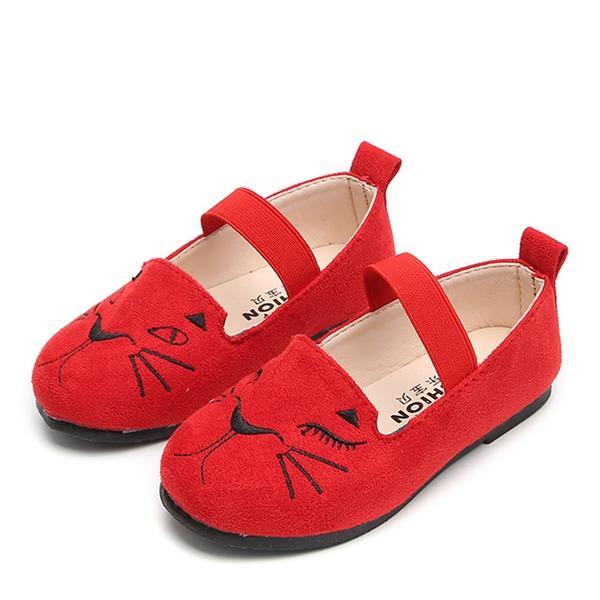 Fille de bout rond Suède talon plat Chaussures plates Chaussures de fille de fleur avec Impression Bande élastique
